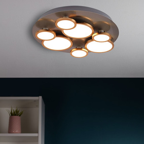 famlights | LED Deckenleuchte Margarete in Nickel mit...